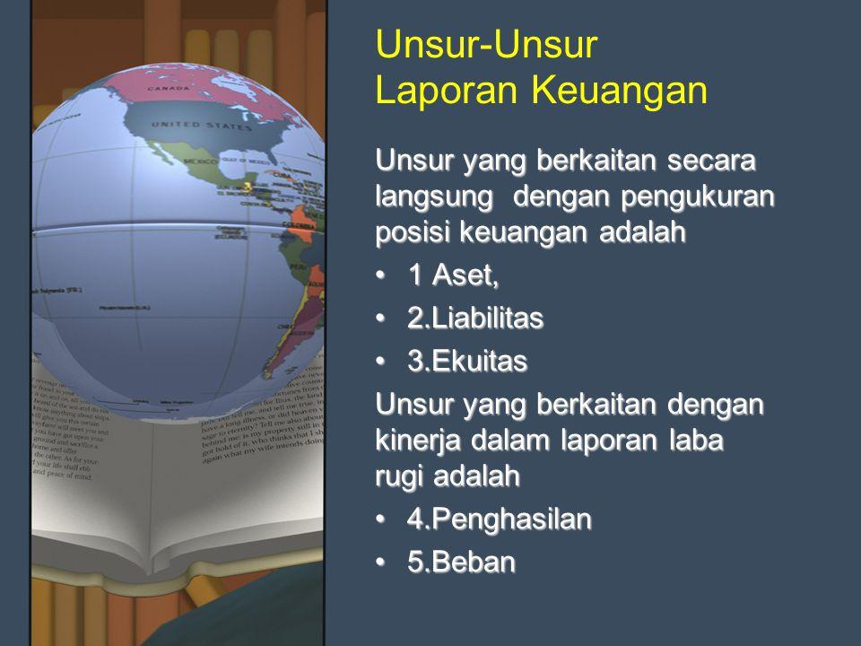 Unsur-Unsur Laporan Keuangan Unsur yang berkaitan secara langsung dengan pengukuran posisi keuangan adalah 1 Aset,1 Aset, 2.Liabilitas2.Liabilitas 3.E