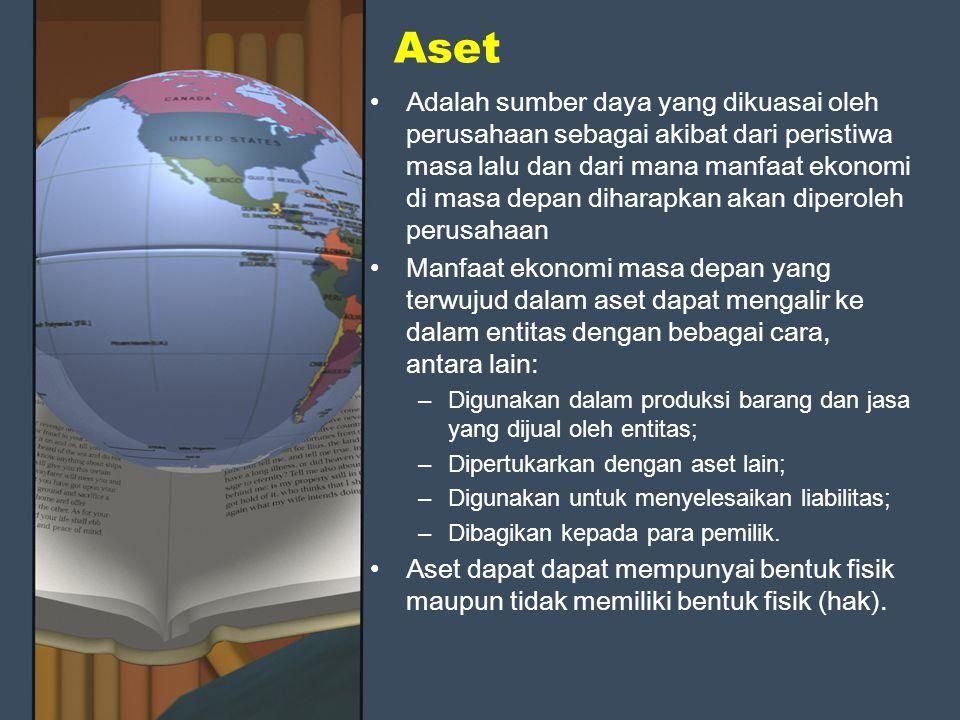 Aset Adalah sumber daya yang dikuasai oleh perusahaan sebagai akibat dari peristiwa masa lalu dan dari mana manfaat ekonomi di masa depan diharapkan a