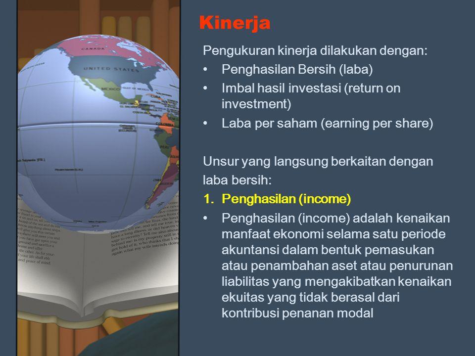 Kinerja Pengukuran kinerja dilakukan dengan: Penghasilan Bersih (laba) Imbal hasil investasi (return on investment) Laba per saham (earning per share)