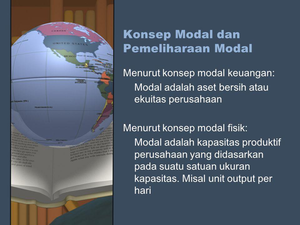 Konsep Modal dan Pemeliharaan Modal Menurut konsep modal keuangan: Modal adalah aset bersih atau ekuitas perusahaan Menurut konsep modal fisik: Modal