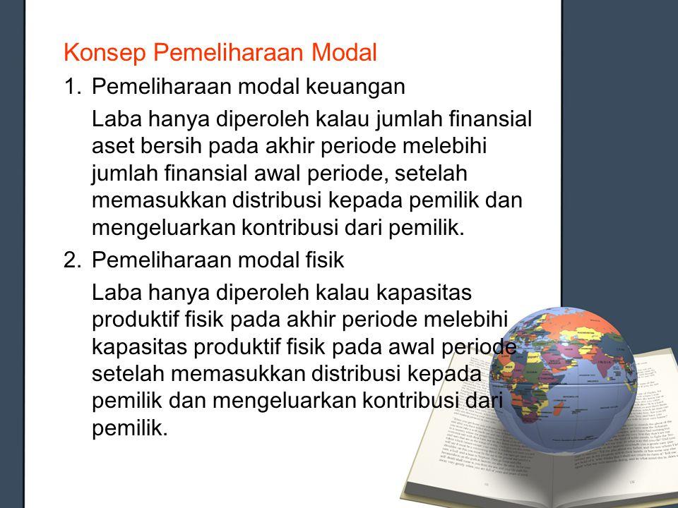 Konsep Pemeliharaan Modal 1.Pemeliharaan modal keuangan Laba hanya diperoleh kalau jumlah finansial aset bersih pada akhir periode melebihi jumlah fin