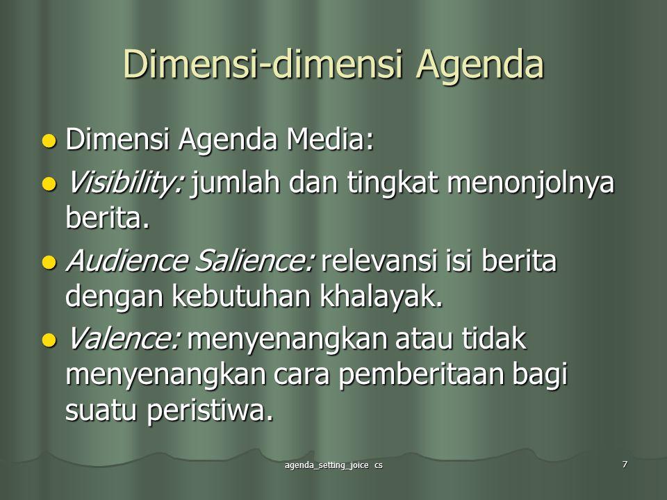 agenda_setting_joice cs 7 Dimensi-dimensi Agenda Dimensi Agenda Media: Dimensi Agenda Media: Visibility: jumlah dan tingkat menonjolnya berita. Visibi