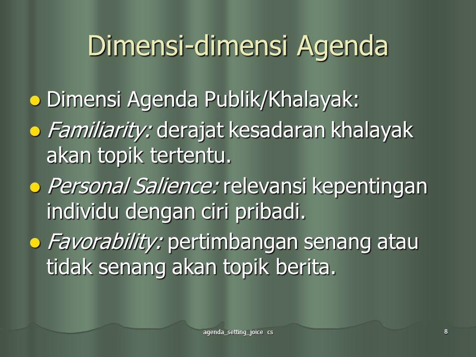 agenda_setting_joice cs 9 Dimensi-dimensi Agenda Dimensi Agenda Kebijakan: Dimensi Agenda Kebijakan: Support: kegiatan menyenangkan bagi posisi suatu berita tertentu.