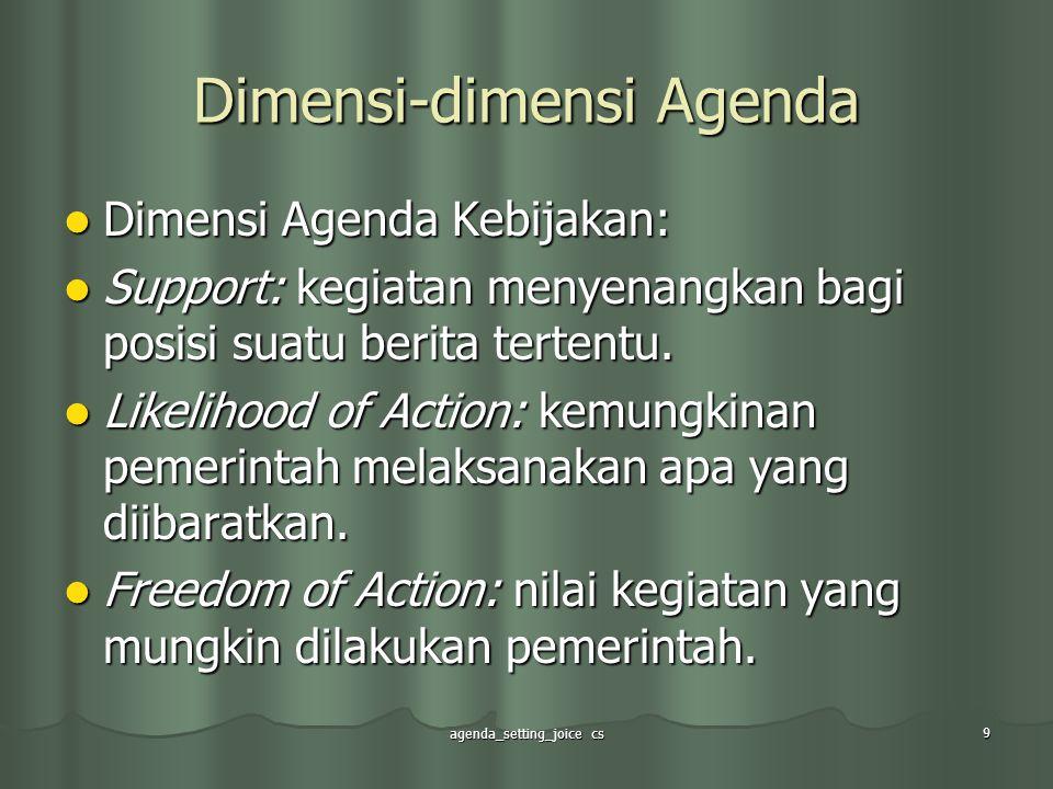 agenda_setting_joice cs 9 Dimensi-dimensi Agenda Dimensi Agenda Kebijakan: Dimensi Agenda Kebijakan: Support: kegiatan menyenangkan bagi posisi suatu