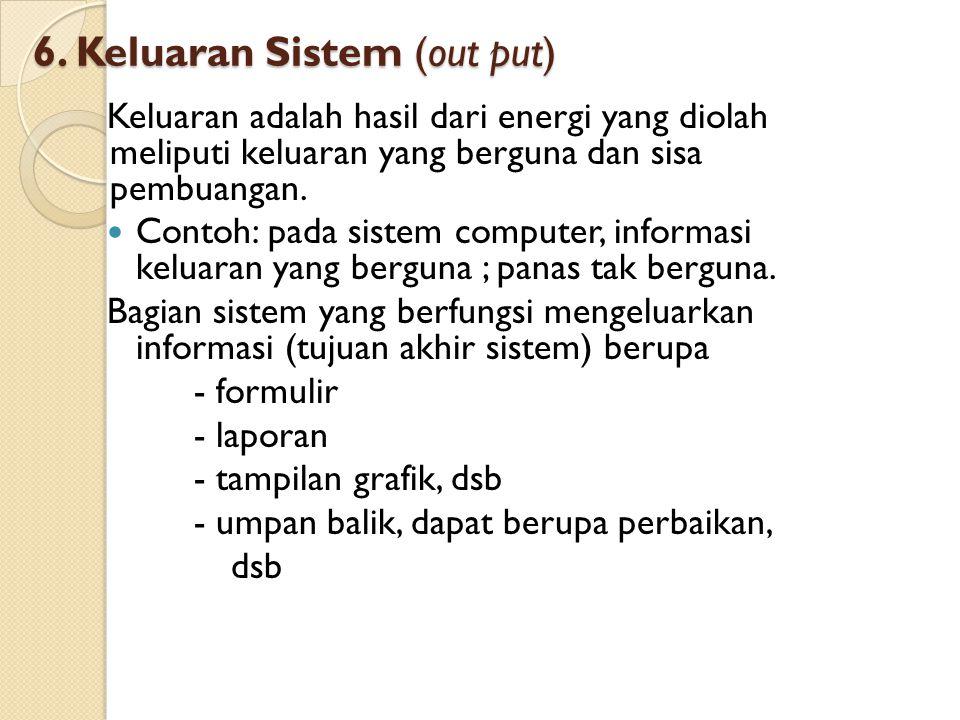 6. Keluaran Sistem (out put) Keluaran adalah hasil dari energi yang diolah meliputi keluaran yang berguna dan sisa pembuangan. Contoh: pada sistem com