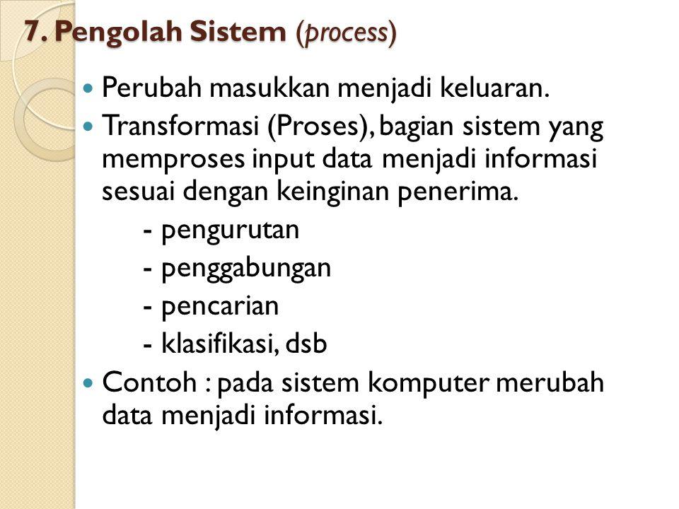 7. Pengolah Sistem (process) Perubah masukkan menjadi keluaran. Transformasi (Proses), bagian sistem yang memproses input data menjadi informasi sesua