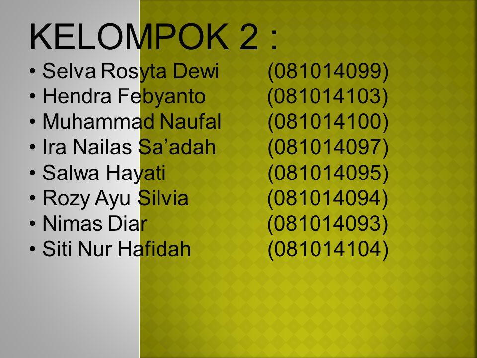 KELOMPOK 2 : Selva Rosyta Dewi(081014099) Hendra Febyanto (081014103) Muhammad Naufal(081014100) Ira Nailas Sa'adah (081014097) Salwa Hayati(081014095