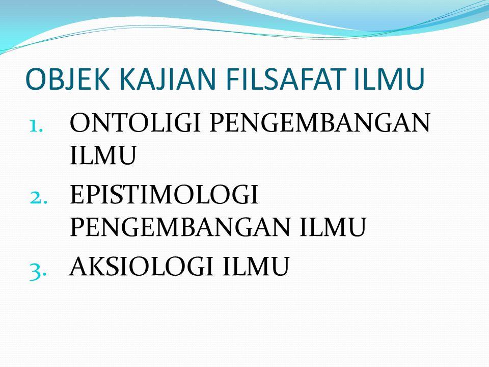 OBJEK KAJIAN FILSAFAT ILMU 1. ONTOLIGI PENGEMBANGAN ILMU 2. EPISTIMOLOGI PENGEMBANGAN ILMU 3. AKSIOLOGI ILMU