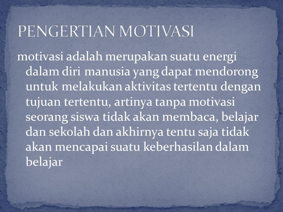 motivasi adalah merupakan suatu energi dalam diri manusia yang dapat mendorong untuk melakukan aktivitas tertentu dengan tujuan tertentu, artinya tanp