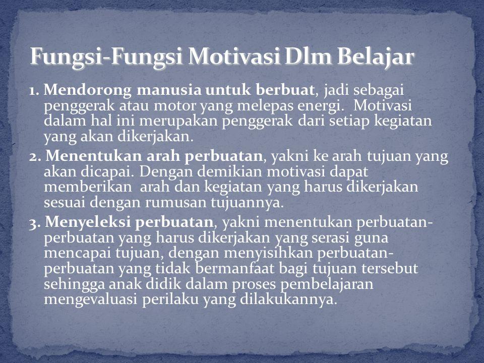 1. Mendorong manusia untuk berbuat, jadi sebagai penggerak atau motor yang melepas energi. Motivasi dalam hal ini merupakan penggerak dari setiap kegi