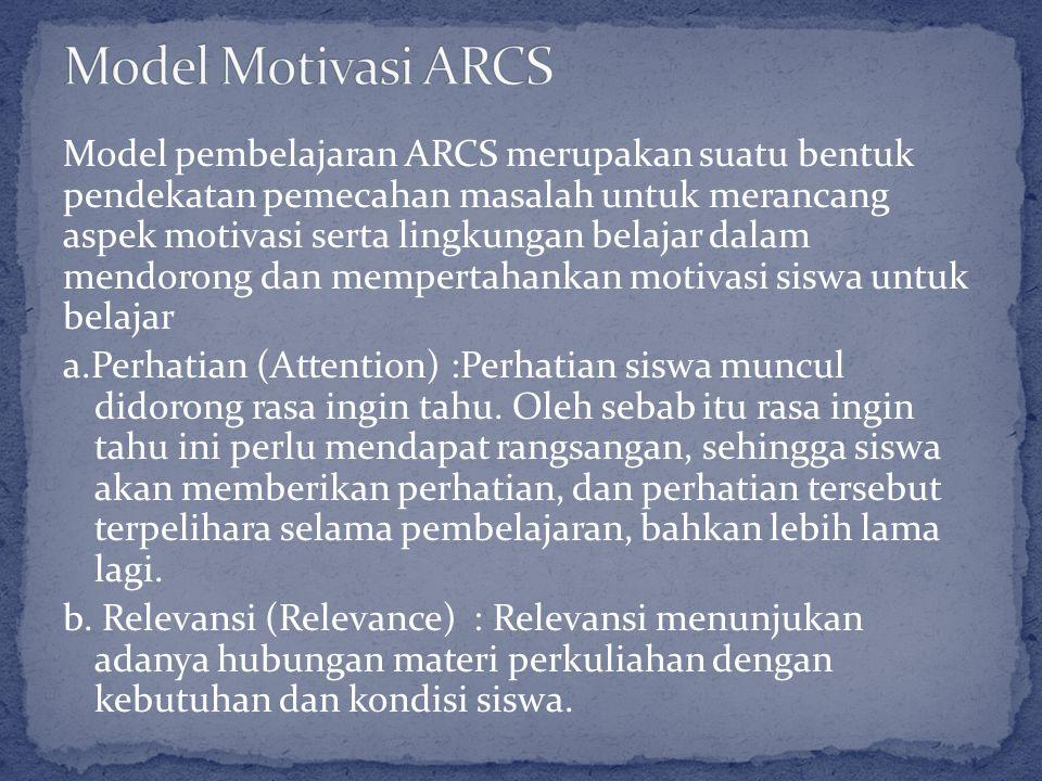 Model pembelajaran ARCS merupakan suatu bentuk pendekatan pemecahan masalah untuk merancang aspek motivasi serta lingkungan belajar dalam mendorong da