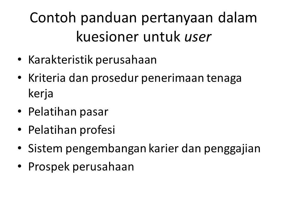 Contoh panduan pertanyaan dalam kuesioner untuk user Karakteristik perusahaan Kriteria dan prosedur penerimaan tenaga kerja Pelatihan pasar Pelatihan