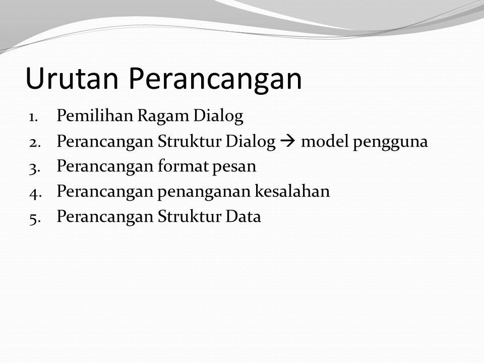 Urutan Perancangan 1.Pemilihan Ragam Dialog 2. Perancangan Struktur Dialog  model pengguna 3.