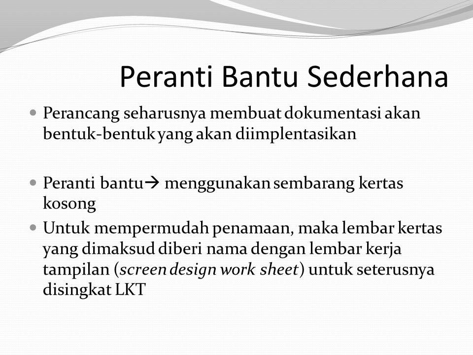 Peranti Bantu Sederhana Perancang seharusnya membuat dokumentasi akan bentuk-bentuk yang akan diimplentasikan Peranti bantu  menggunakan sembarang kertas kosong Untuk mempermudah penamaan, maka lembar kertas yang dimaksud diberi nama dengan lembar kerja tampilan (screen design work sheet) untuk seterusnya disingkat LKT