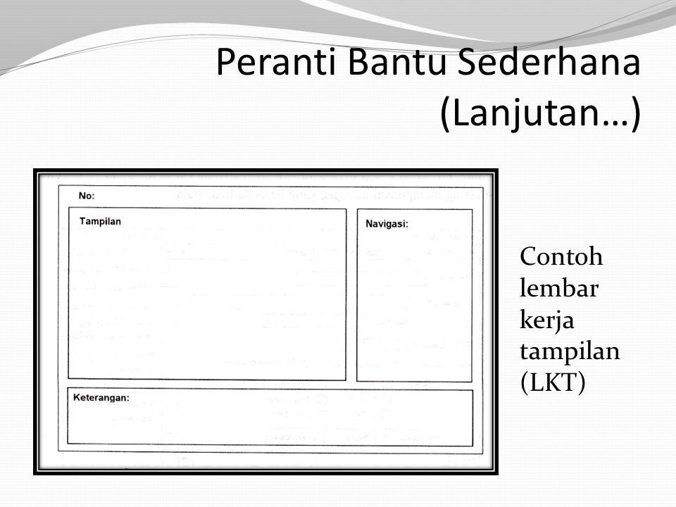 Peranti Bantu Sederhana (Lanjutan…) Contoh lembar kerja tampilan (LKT)