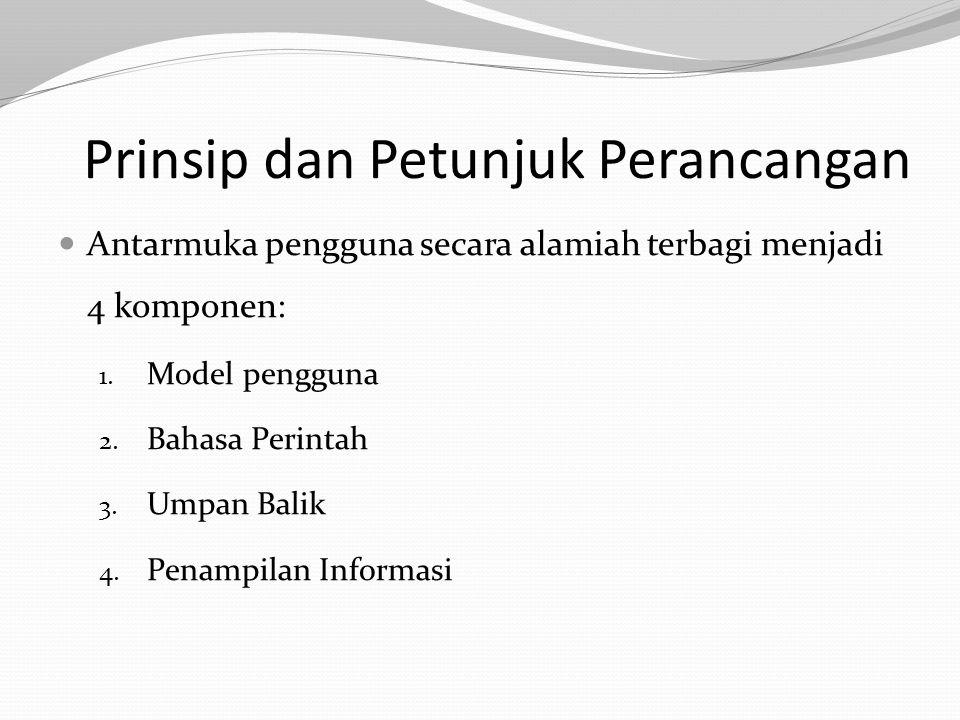 Prinsip dan Petunjuk Perancangan Antarmuka pengguna secara alamiah terbagi menjadi 4 komponen: 1. Model pengguna 2. Bahasa Perintah 3. Umpan Balik 4.