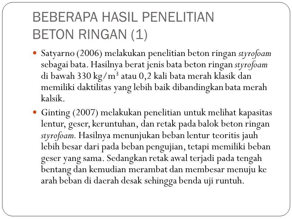 BEBERAPA HASIL PENELITIAN BETON RINGAN (1) Satyarno (2006) melakukan penelitian beton ringan styrofoam sebagai bata. Hasilnya berat jenis bata beton r