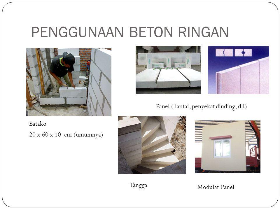 PENGGUNAAN BETON RINGAN Batako Panel ( lantai, penyekat dinding, dll) 20 x 60 x 10 cm (umumnya) Modular Panel Tangga