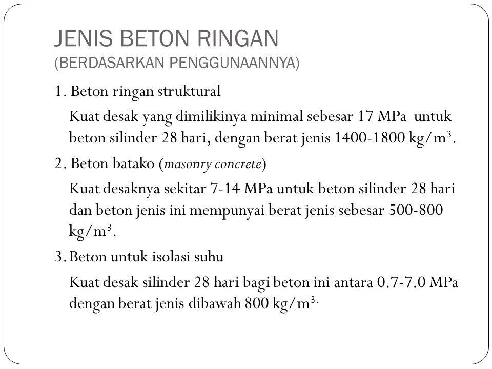 JENIS BETON RINGAN (BERDASARKAN PENGGUNAANNYA) 1. Beton ringan struktural Kuat desak yang dimilikinya minimal sebesar 17 MPa untuk beton silinder 28 h