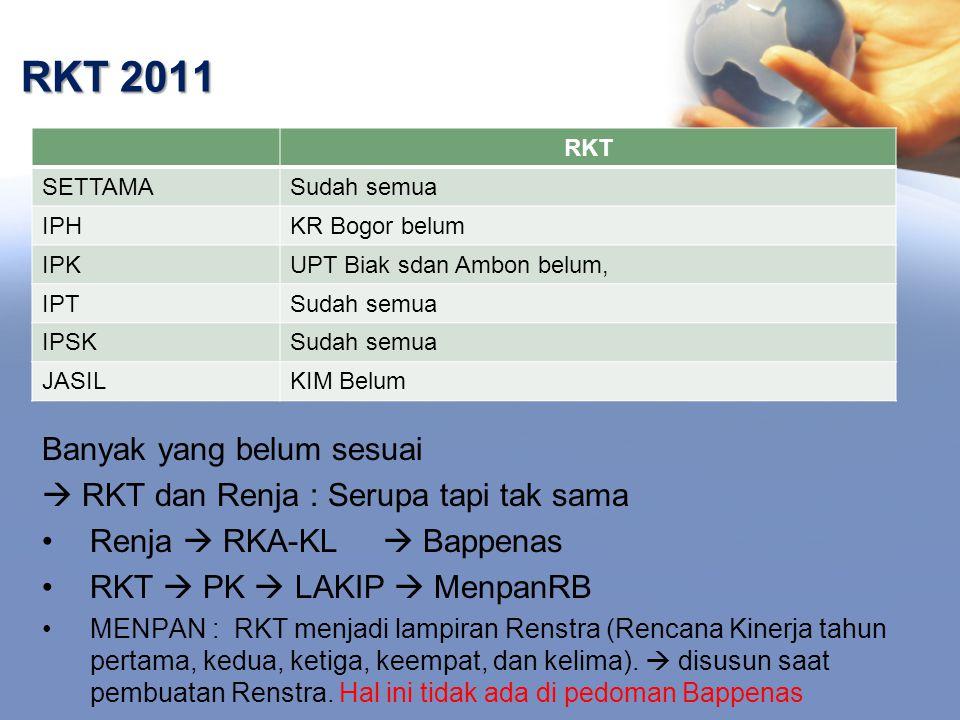 RKT 2011 Banyak yang belum sesuai  RKT dan Renja : Serupa tapi tak sama Renja  RKA-KL  Bappenas RKT  PK  LAKIP  MenpanRB MENPAN : RKT menjadi lampiran Renstra (Rencana Kinerja tahun pertama, kedua, ketiga, keempat, dan kelima).