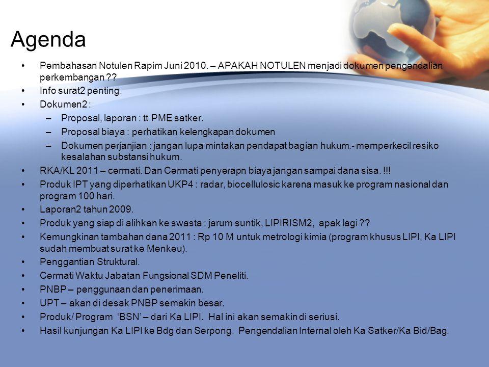 Agenda Pembahasan Notulen Rapim Juni 2010.