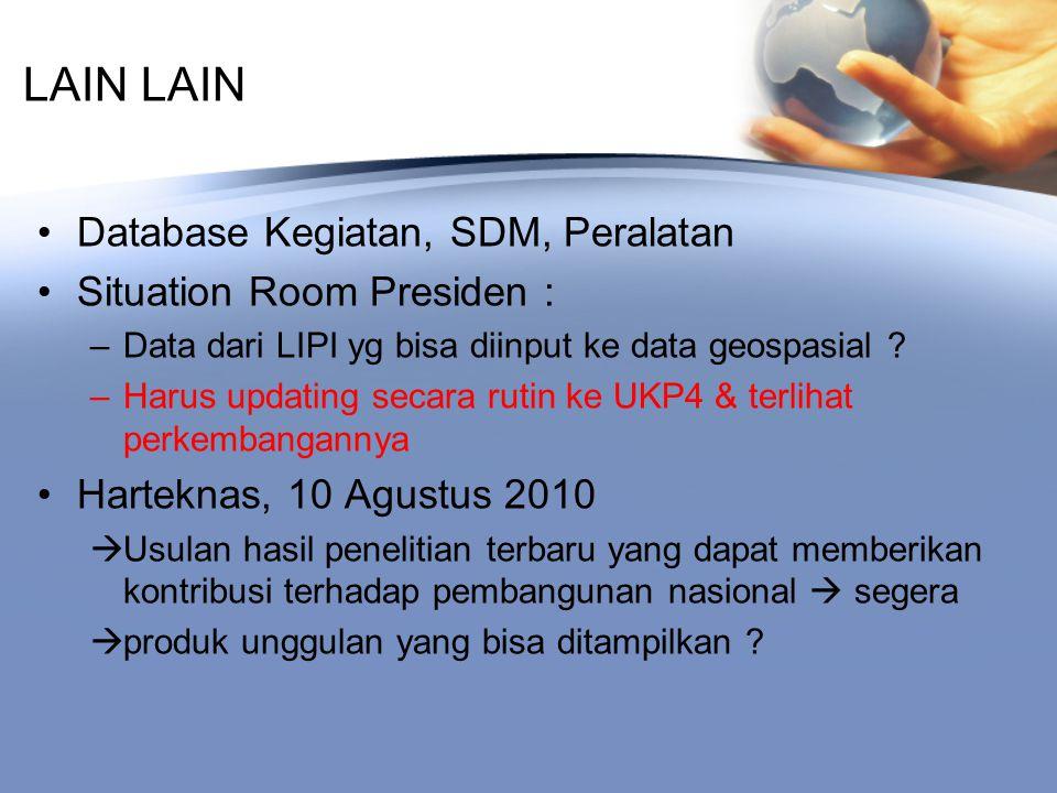 LAIN Database Kegiatan, SDM, Peralatan Situation Room Presiden : –Data dari LIPI yg bisa diinput ke data geospasial .