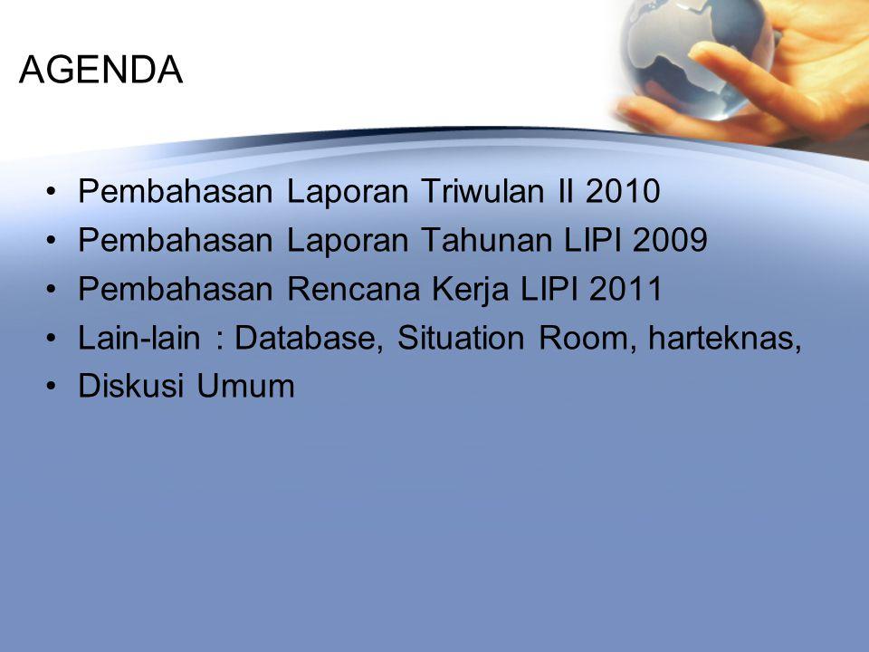 AGENDA Pembahasan Laporan Triwulan II 2010 Pembahasan Laporan Tahunan LIPI 2009 Pembahasan Rencana Kerja LIPI 2011 Lain-lain : Database, Situation Room, harteknas, Diskusi Umum