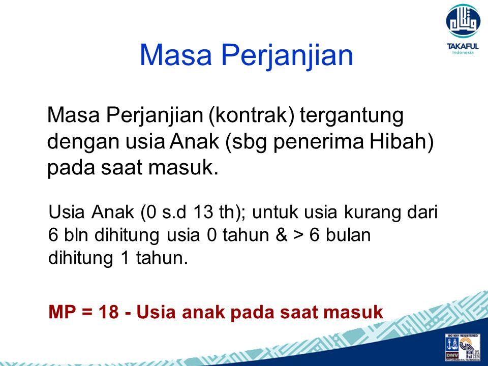 Masa Perjanjian Usia Anak (0 s.d 13 th); untuk usia kurang dari 6 bln dihitung usia 0 tahun & > 6 bulan dihitung 1 tahun. MP = 18 - Usia anak pada saa