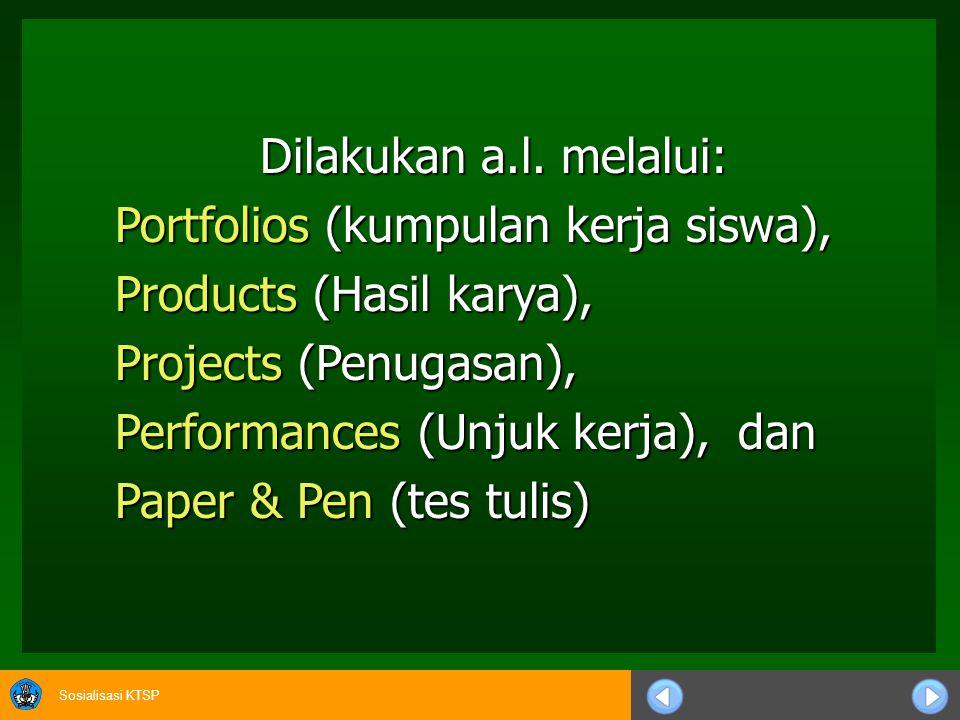 Sosialisasi KTSP Dilakukan a.l. melalui: Portfolios (kumpulan kerja siswa), Products (Hasil karya), Projects (Penugasan), Performances (Unjuk kerja),