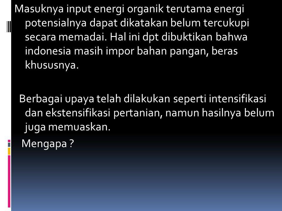 Masuknya input energi organik terutama energi potensialnya dapat dikatakan belum tercukupi secara memadai.