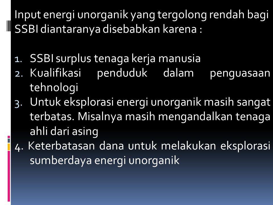Input energi unorganik yang tergolong rendah bagi SSBI diantaranya disebabkan karena : 1.