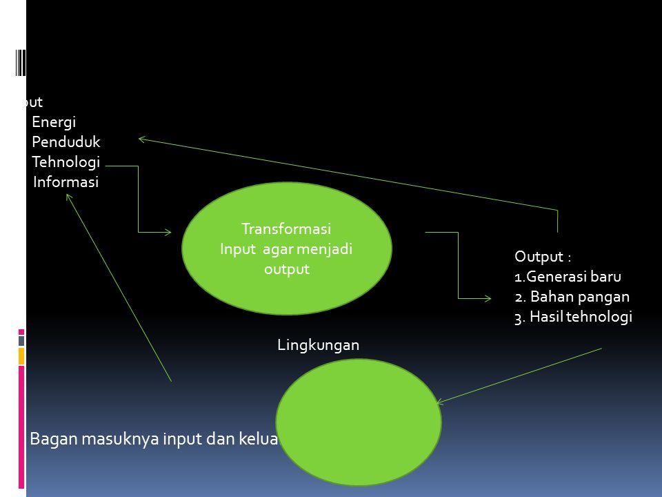Bagan masuknya input dan keluarnya output Transformasi Input agar menjadi output Input 1.Energi 2.Penduduk 3.Tehnologi 4.