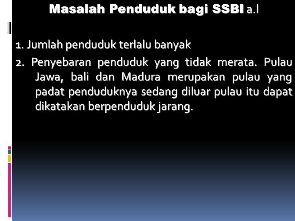 Masalah Penduduk bagi SSBI a.l 1. Jumlah penduduk terlalu banyak 2.