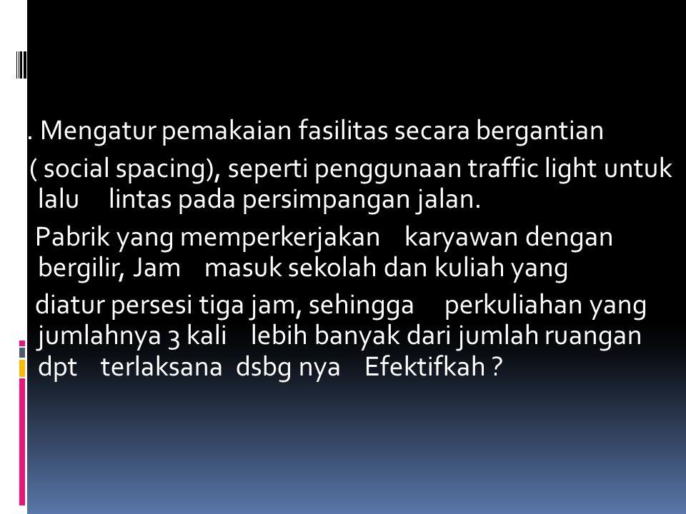 2. Mengatur pemakaian fasilitas secara bergantian ( social spacing), seperti penggunaan traffic light untuk lalu lintas pada persimpangan jalan. Pabri