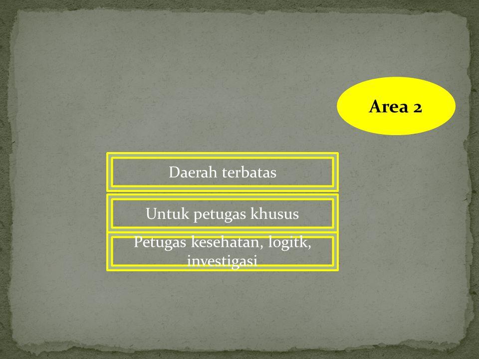 AREA 1 Daerah terlarang Tim kesehatan dapat masuk bila mendapatkan ijin Hanya petugas penyelamat