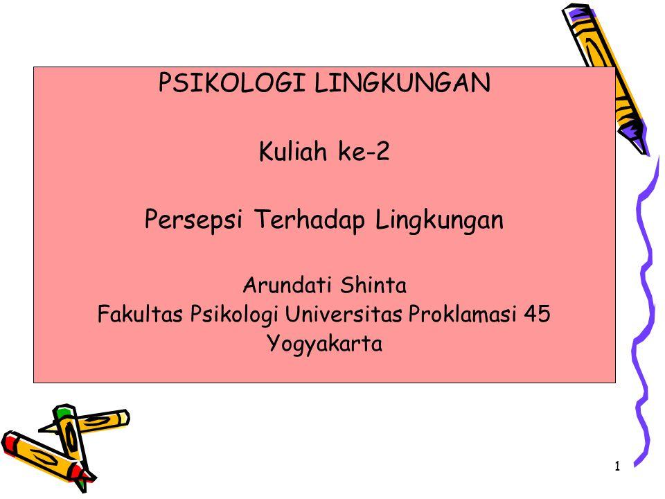 1 PSIKOLOGI LINGKUNGAN Kuliah ke-2 Persepsi Terhadap Lingkungan Arundati Shinta Fakultas Psikologi Universitas Proklamasi 45 Yogyakarta