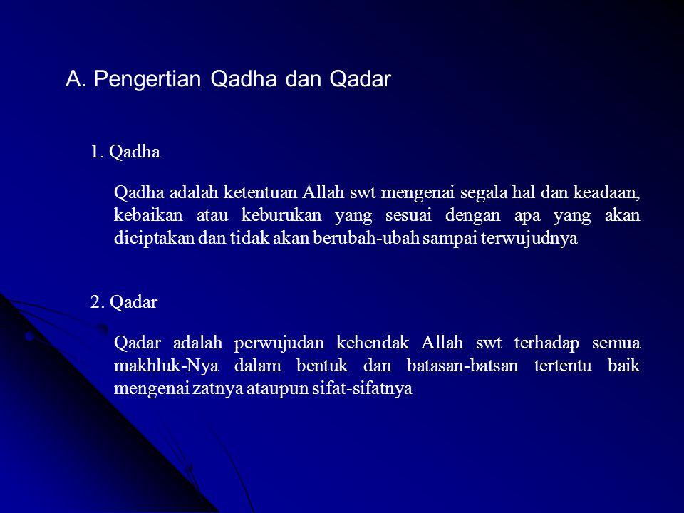 A. Pengertian Qadha dan Qadar 1. Qadha Qadha adalah ketentuan Allah swt mengenai segala hal dan keadaan, kebaikan atau keburukan yang sesuai dengan ap