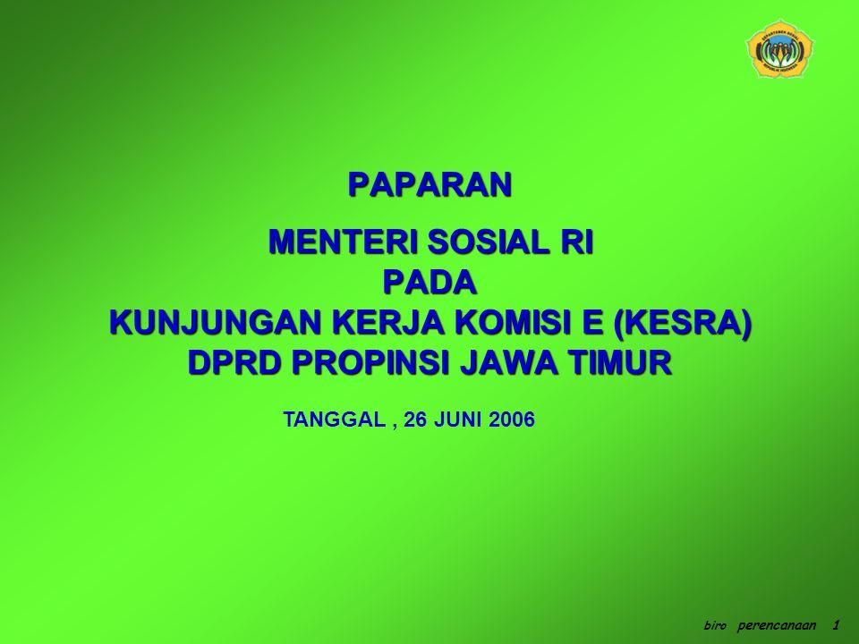 RENCANA SETRATEGIS PEMBANGUNAN KESEJAHTERAAN SOSIAL RENCANA SETRATEGIS PEMBANGUNAN KESEJAHTERAAN SOSIAL (a) MELEMAHNYA FUNGSI SOSIAL (b) BELUM TERSEDIANYA SISTEM PERLINDUNGAN SOSIAL BAGI PENDUDUK YANG BEKERJA DI SEKTOR INFORMAL, (c) MENINGKATNYA MASALAH SOSIAL YANG TERKAIT DENGAN GLOBALISASI, SEPERTI TRAFFICKING, TUNA SOSIAL, DOMESTIC VIOLENCE, PEKERJA MIGRAN BERMASALAH, PENYALAHGUNAAN NAPZA, KEMISKINAN, DAN KAT (d) RAWAN BENCANA ALAM ISU STRATEGIS biro perencanaan 2