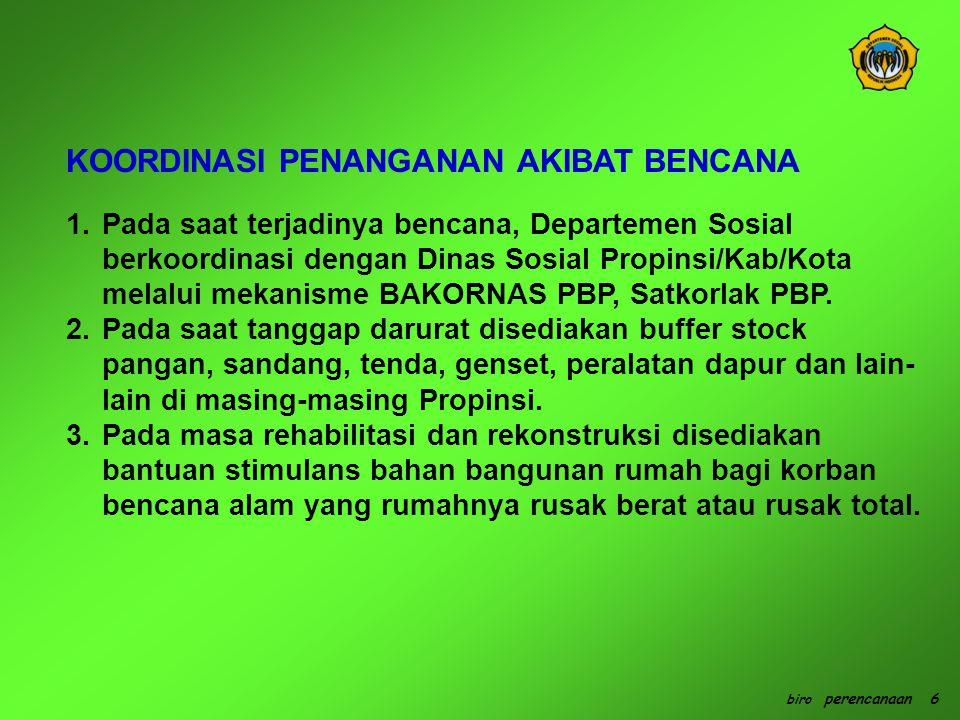 1.Pada saat terjadinya bencana, Departemen Sosial berkoordinasi dengan Dinas Sosial Propinsi/Kab/Kota melalui mekanisme BAKORNAS PBP, Satkorlak PBP.