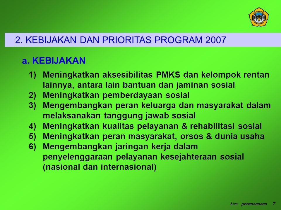 1.Program Bantuan dan Jaminan Kesejahteraan Sosial Tujuan: (1) Menghindari, dan mengurangi korban manusia, membantu korban bencana; (2) Memberikan jaminan kesos bagi RTM melalui asuransi kesos dan jaminan sosial bagi lansia dan penca.