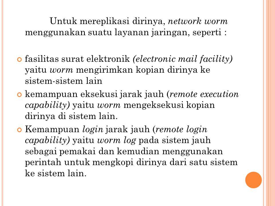 Untuk mereplikasi dirinya, network worm menggunakan suatu layanan jaringan, seperti : fasilitas surat elektronik (electronic mail facility) yaitu worm