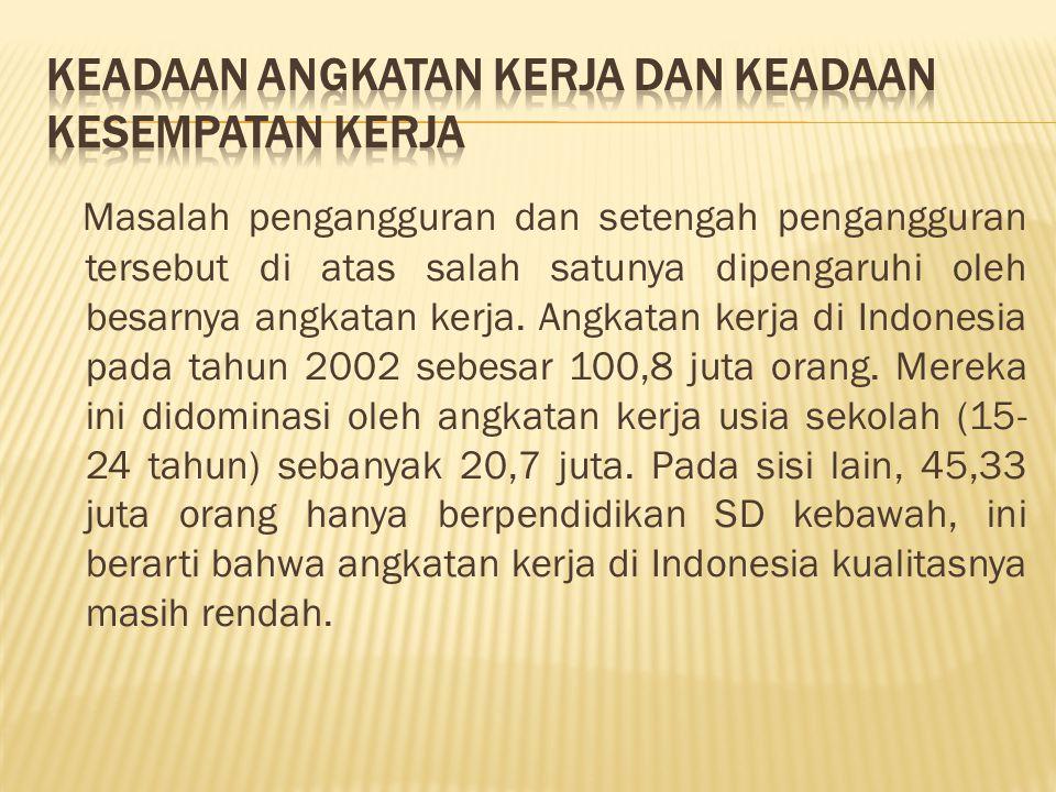 Masalah pengangguran dan setengah pengangguran tersebut di atas salah satunya dipengaruhi oleh besarnya angkatan kerja. Angkatan kerja di Indonesia pa