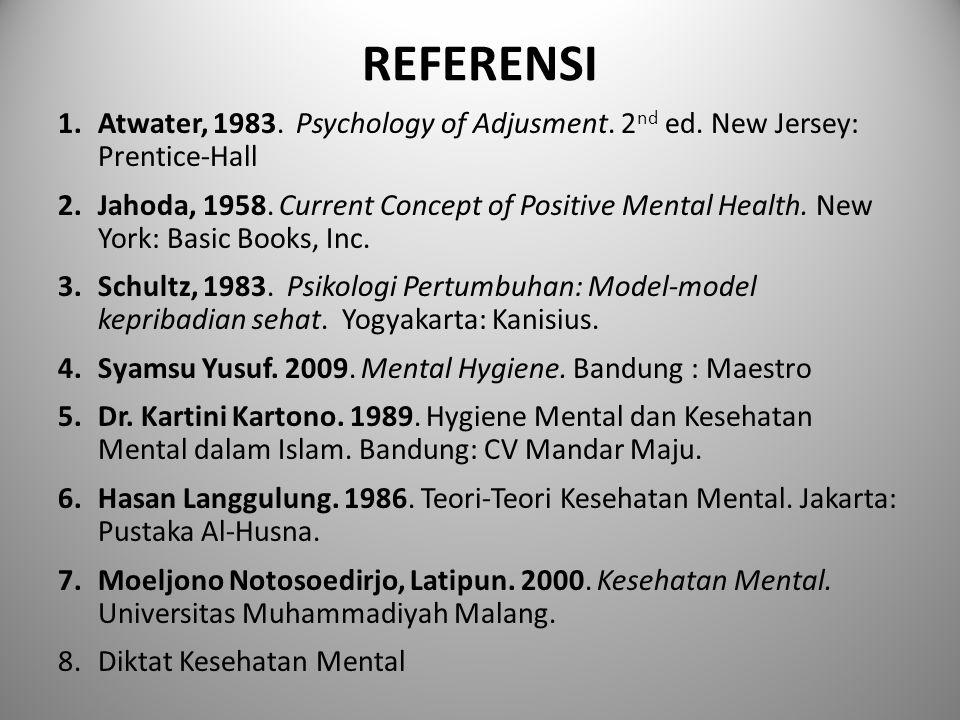 REFERENSI 1.Atwater, 1983.Psychology of Adjusment.