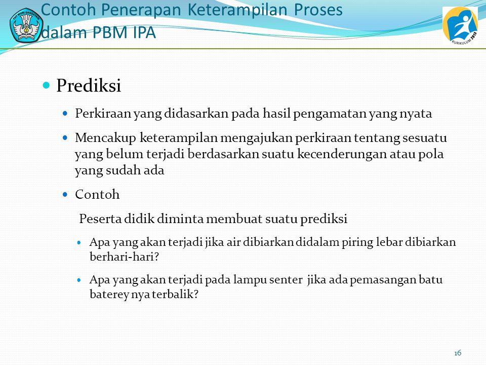 Contoh Penerapan Keterampilan Proses dalam PBM IPA Komunikasi Menyampaikan pendapat hasil keterampilan proses lainnya baik secara lisan maupun tulisan