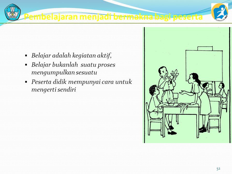 Contextual Teaching and Learning (CTL)  keterlibatan penuh pembelajar,  adanya kerjasama murni,  adanya variasi dan keragaman dalam metode belajar,