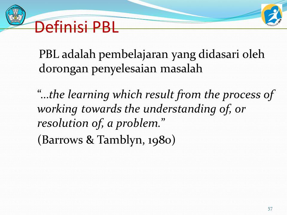 Definisi PBL Belajar merupakan pemahaman dari proses kerja sebagai bagian dari pemahaman atau pemecahan masalah 56