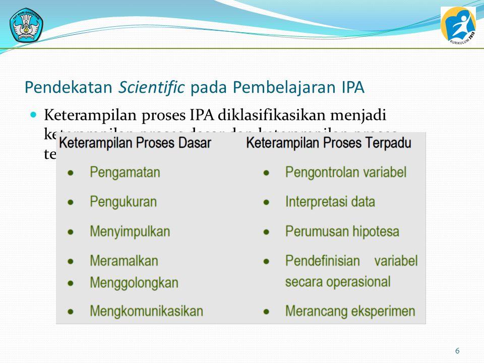 Pendekatan Scientific pada Pembelajaran IPA Keterampilan proses IPA diklasifikasikan menjadi keterampilan proses dasar dan keterampilan proses terpadu 6