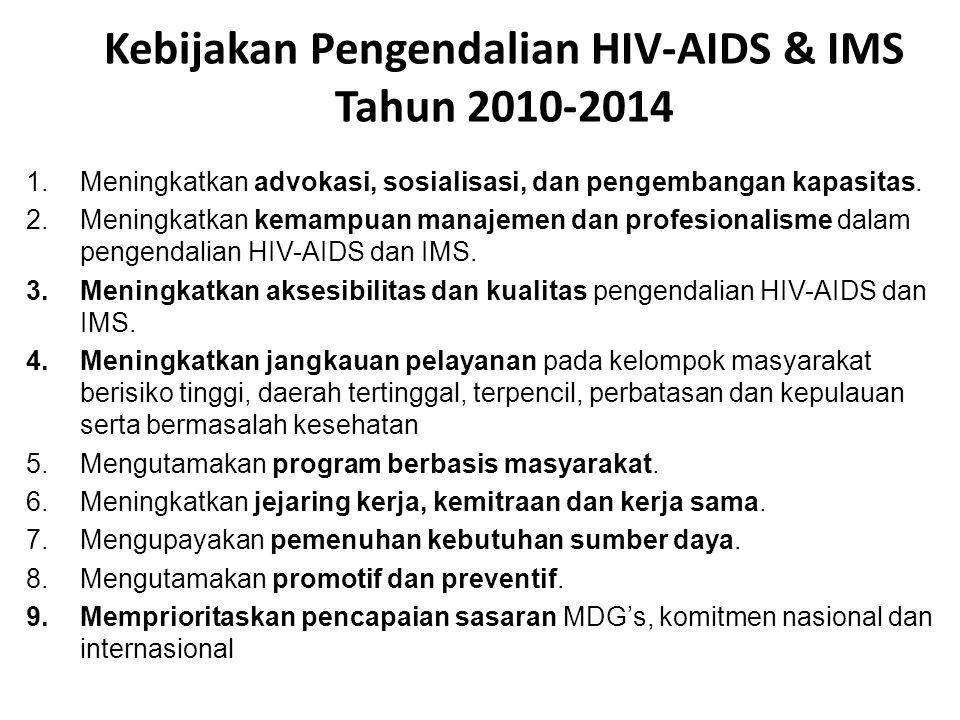 Kebijakan Pengendalian HIV-AIDS & IMS Tahun 2010-2014 1.Meningkatkan advokasi, sosialisasi, dan pengembangan kapasitas. 2.Meningkatkan kemampuan manaj