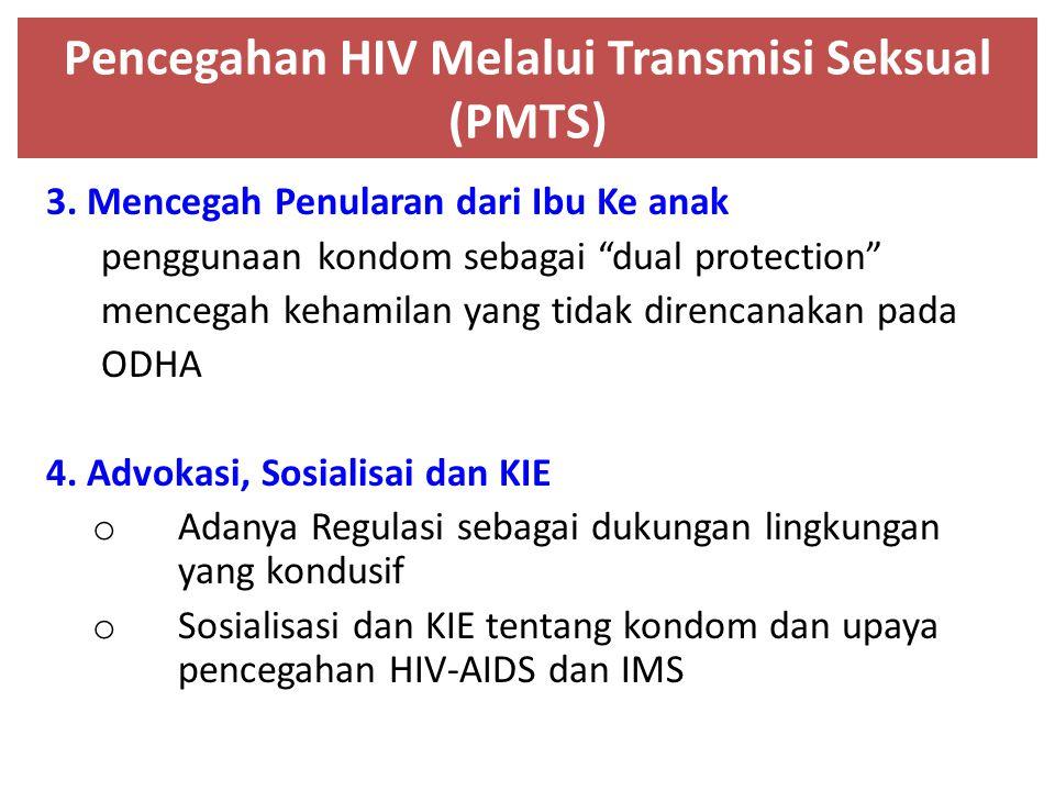 """Pencegahan HIV Melalui Transmisi Seksual (PMTS) 3. Mencegah Penularan dari Ibu Ke anak penggunaan kondom sebagai """"dual protection"""" mencegah kehamilan"""