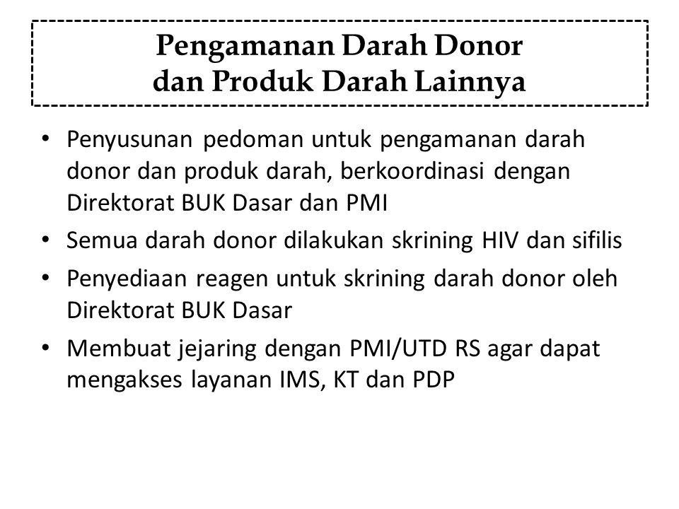 Pengamanan Darah Donor dan Produk Darah Lainnya Penyusunan pedoman untuk pengamanan darah donor dan produk darah, berkoordinasi dengan Direktorat BUK